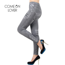 TI2418 Comeonlover Work Out Leggings Gray Fashion Style Demin Legging Woman Leggings Trendy Super Deal Jean Type Legging Jeans