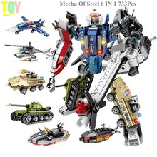 733Pcs Set Military Technic Movie Figures Autobots Tank Mecha Of Steel 6 IN 1 Model Building Blocks Toys for Children Brinquedos(China)