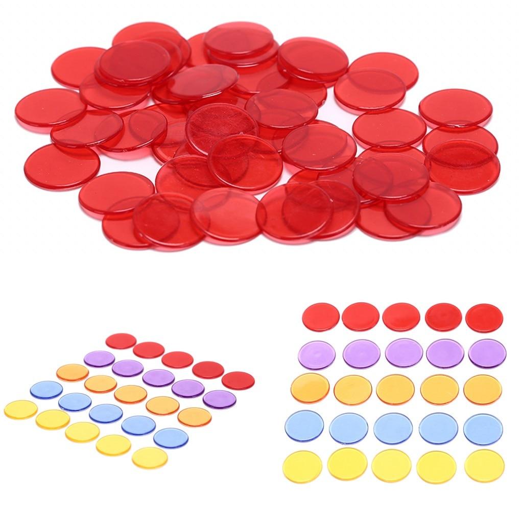 2019 New 1.5cm Plastic Poker Chips Casino Bingo Markers For Fun Family Club Carnival Bingo Game Supplies Acce 5Colors 50Pcs