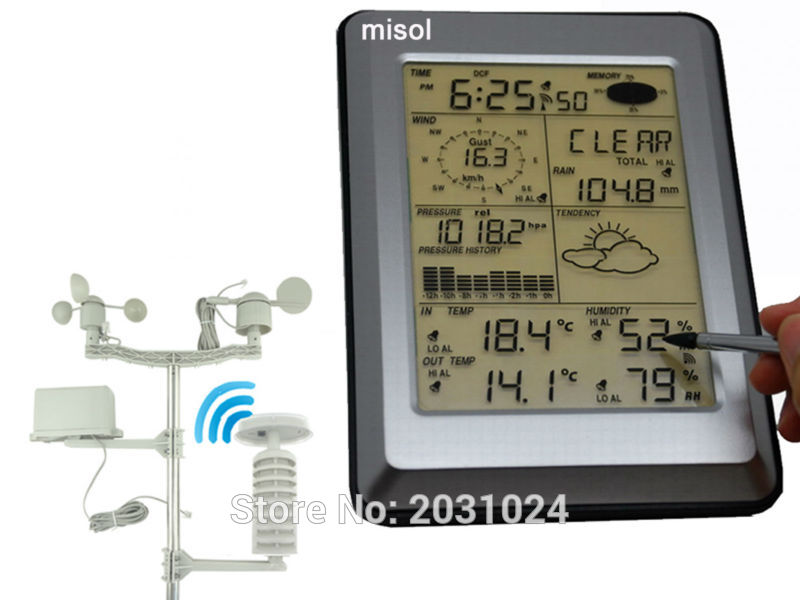 Professional Wireless Weather Station Touch Panel w/ Solar sensor, w/ PC interface 4 20ma 0 5v 0 10v wind direction sensor anemometer small weather station parts from factory