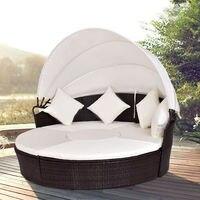 Giantex открытый патио навес мягкая кушетка круглый выдвижной диван кровать современный набор мебели HW54808 +