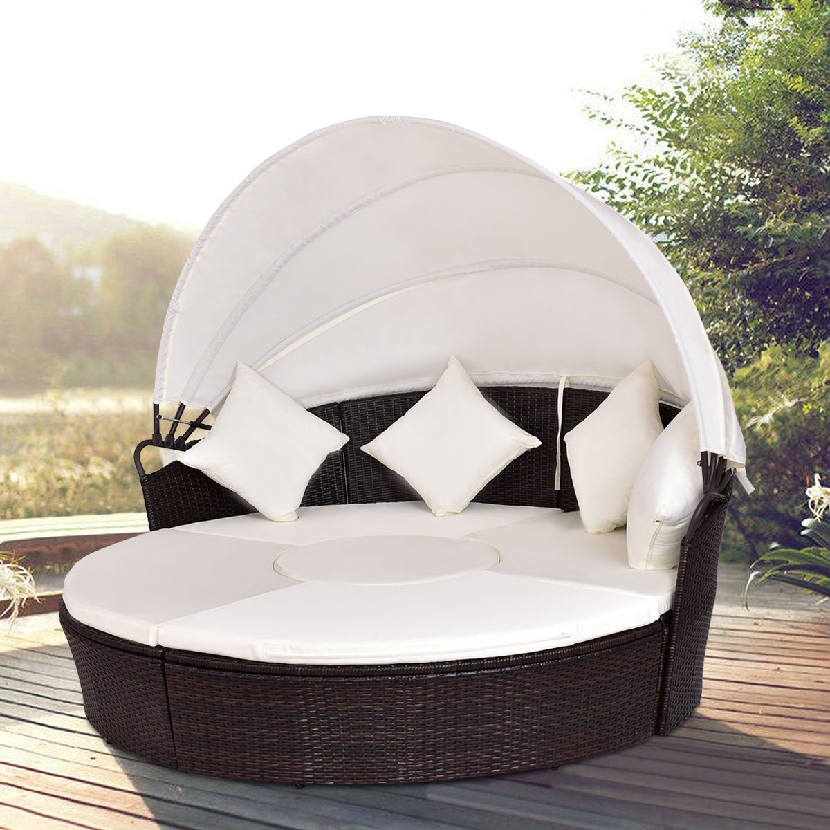Giantex Outdoor Patio Canopy Cushioned Daybed Round Retractable Sofa Bed Modern Rattan Furniture Set HW54808+ rectangle rattan sofa holiday outdoor rattan sofa bed terrace sun bed outdoor leisure patio balcony sofa bed chair with tent