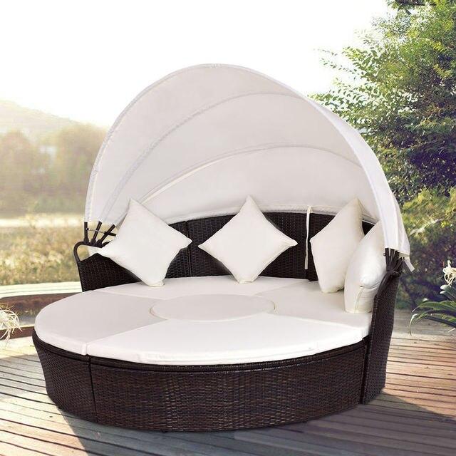 Giantex Terrasse Baldachin Gepolsterten Daybed Runde Einziehbare Sofa Bett  Moderne Rattan Möbel Set HW54808 +