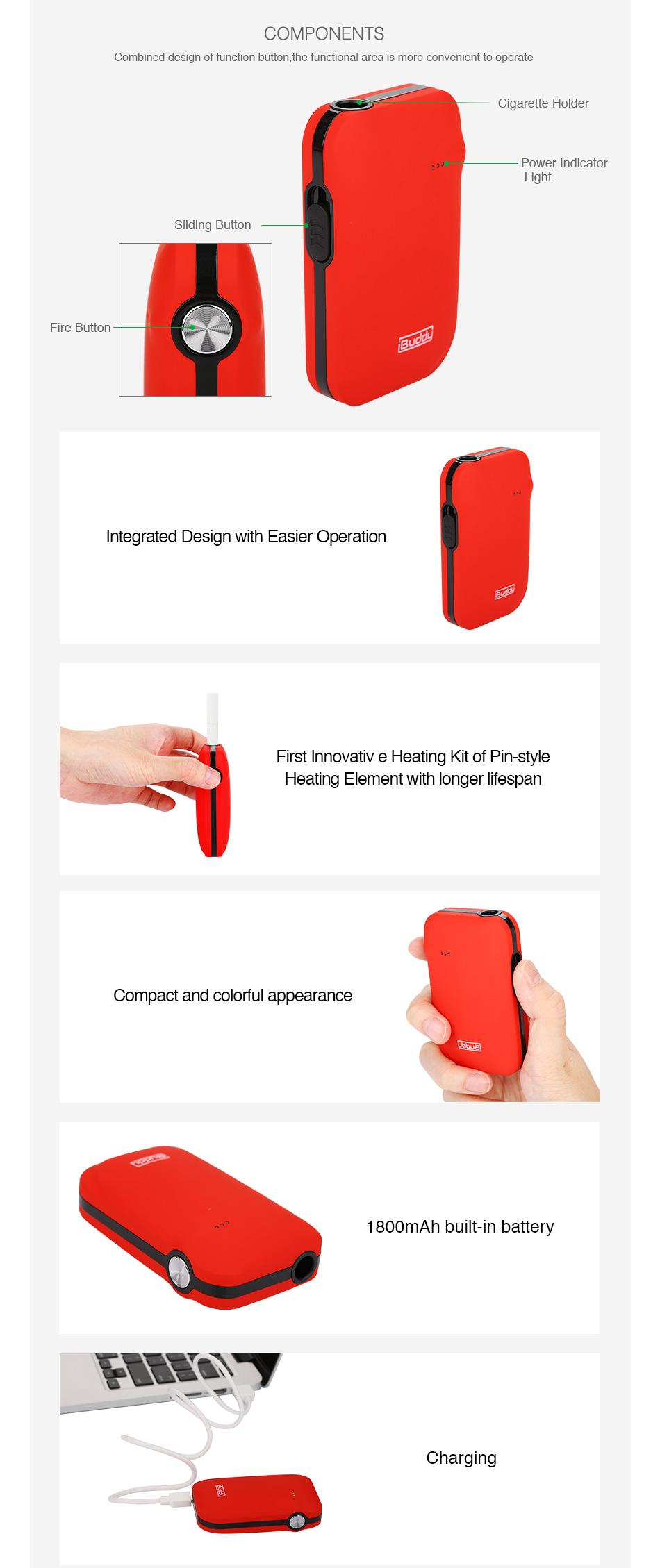 , New Original IBuddy i1 Heating Kit 1800mAh Built-in Battery Pin-style Heating Element Dry Herb Vaporizer vape kit Vs Kecig 4.0
