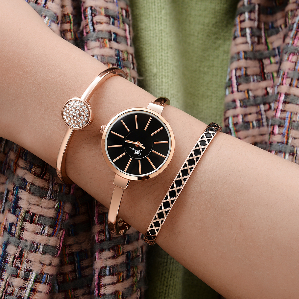 Ginave 3 PCS Set Women Watch Rose Gold Diamond Bracelet Watch Luxury Jewelry Ladies Casual Quartz Wristwatche relojes para mujer in Women 39 s Watches from Watches