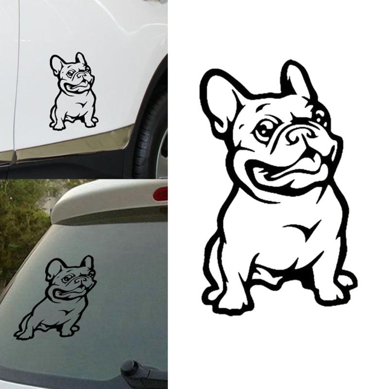 Car Styling Creative Black French Bulldog Car Stickers and Decals Funny Cute Car Door Window Bumper Car Styling Vinyl Decal drip biohazard skull respirator funny vinyl decal sticker car window bumper diy self adhesive car styling art stickers