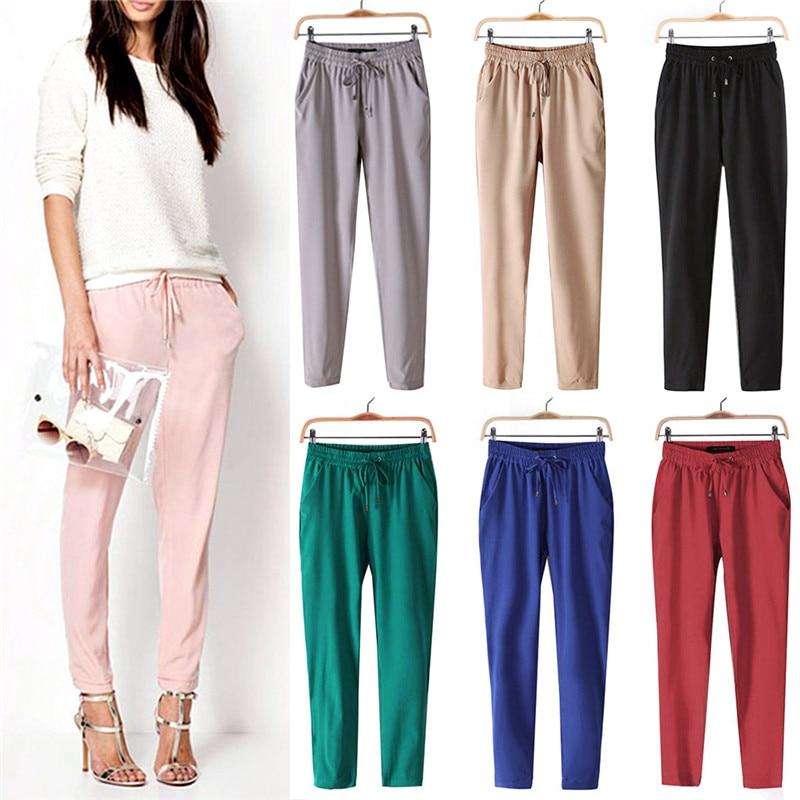 Hot Casual Women Chiffon Pants Elastic Waist Solid Color Office OL Pants Fashion Summer Slim Lady Pants female wide leg