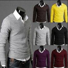 Мужской весенний свитер Новая Англия мужская осень и зима международная торговля ретро свитер тонкий хлопок мужской свитер с v-образным вырезом