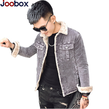 Luxury 2018 Winter Mens velvet Cotton slim Denim Jacket Male Thick Warm Lined Fleece Jeans Jackets black jeans coat Top 3xl