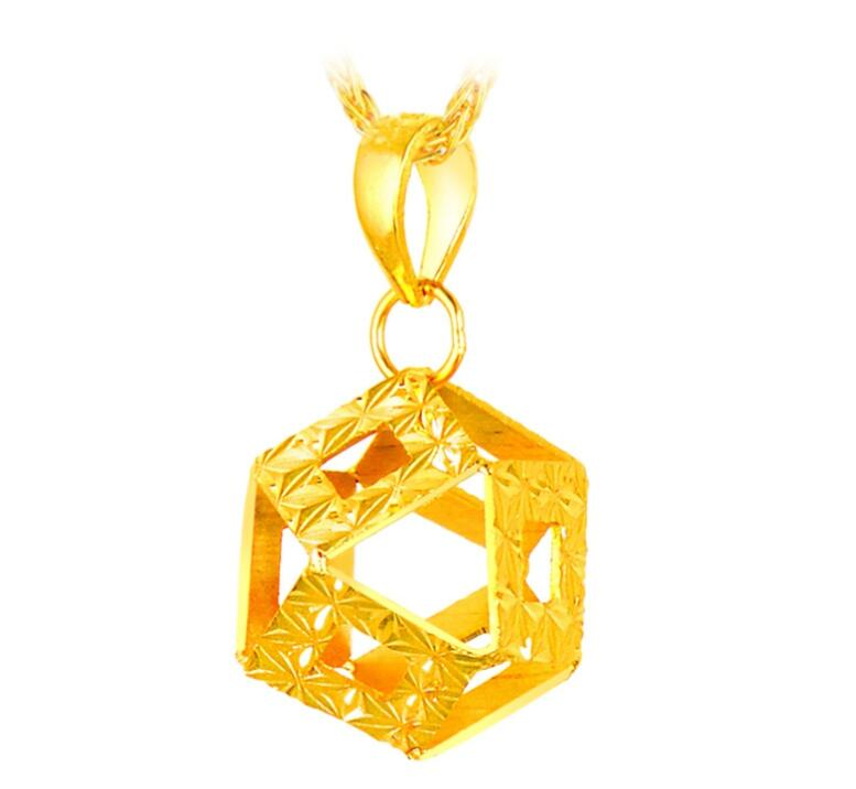 Pure 999 24k Yellow Gold Pendant /3D Lucky Hexagon Hollow Pendant / 1.3g цены