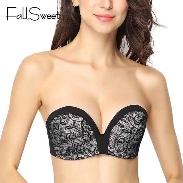 b30b3d7a81c03 FallSweet Strapless Lace Bra for Women Anti-slip Push Up Bralette A B C Cup  Demi Hand Shape Lift Bras