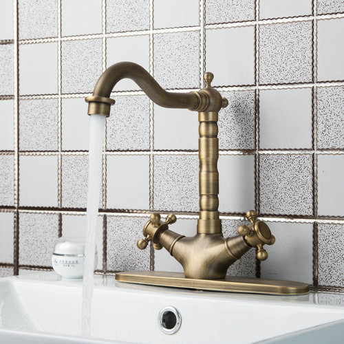 Swivel Antique Brass Double Handles Cover Plate 86325726 Deck Mounted Single Hole Sink Faucets Mixers Taps