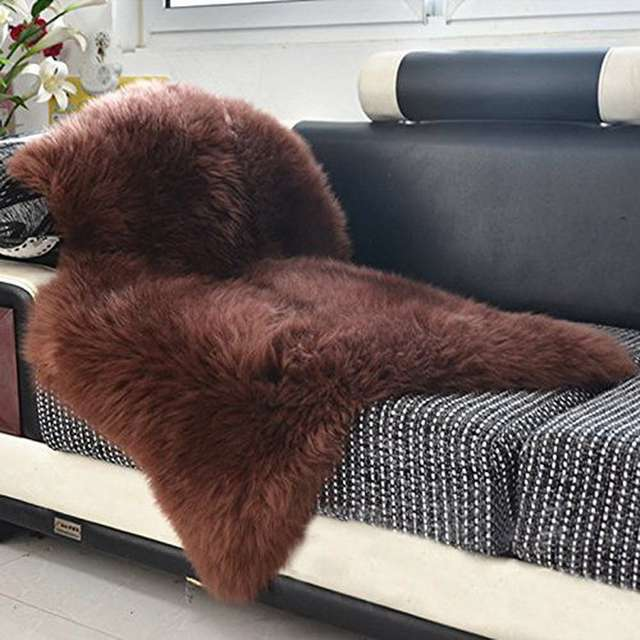 65x100cm Australian Sheepskin Rug Natural Fur Sofa Brown Chocolate Carpet