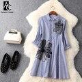 Primavera verão runway designer mulher dress azul faixa branca camisa de algodão estilo dress beading bordados de flores de alta qualidade dress