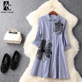 spring summer runway designer woman dress blue white strip shirt style cotton dress beading flower embroidery high quality dress