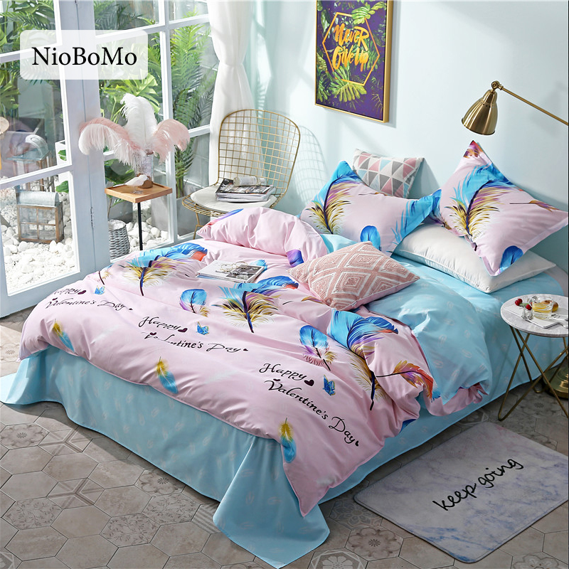 Niobomo Fashion Colorful Feather Bedding Set Elegant Duvet Cover Set And Pillowcase Active Printing Bed Cover Set Multi Sizes