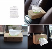 Microfiber Leather Car Tissue Box Mounted On Sun Visor Type Back Beige Seat Storage Car Styling