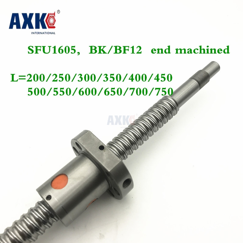 SFU1605 200 250 300 350 400 450 500 550 600 650 700 750 mm ball screw with flange single ball nut BK/BF12 end machined CNC parts