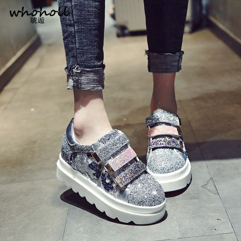 Whogoll 2018 Summer Women Flats Shoes Platform Sneakers Shoes Leather Suede Casual Shoes Slip on Flats Heels Creepers Moccasins instantarts women flats emoji face smile pattern summer air mesh beach flat shoes for youth girls mujer casual light sneakers