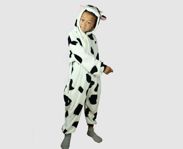 Hot Sale New Anime Animal Milk Cow Oneise Kids Costume Onesie Pajamas Sleepwear in Stock for Wholesale