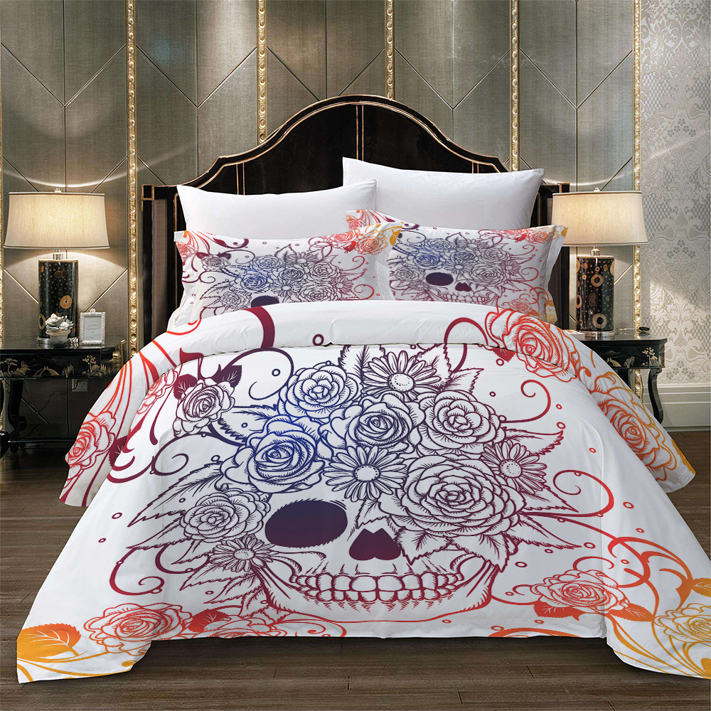 Floral SKULL Bedding set Duvet Cover With Pillowcases Twin Full Queen King Size Bedclothes 3pcs home textileFloral SKULL Bedding set Duvet Cover With Pillowcases Twin Full Queen King Size Bedclothes 3pcs home textile
