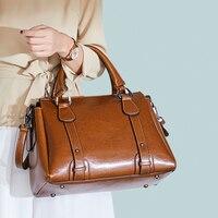 Women Bag Vintage Handbag Casual Tote Fashion Women Messenger Bags Shoulder Top Handle Purse Wallet Leather 2018 New Brown Red
