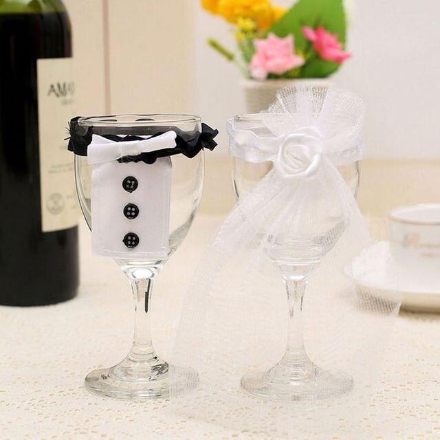 Bride & Groom Tux Bridal Veil Wedding Party Toasting Wine Glasses ...