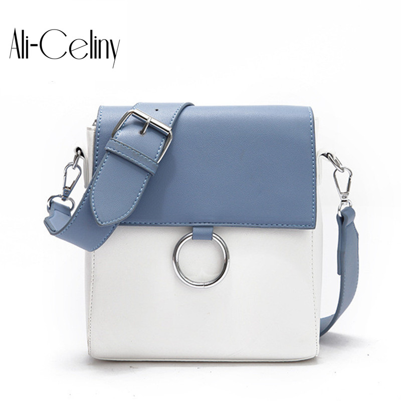 2017 Original new female package Europe and American Style hit color of square package trend ring street shot shoulder bag ...