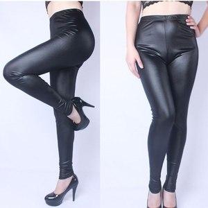 Image 5 - Leggings Vrouwen Nep Lederen Plus Size 5xL Grote Maten Vrouwen Hoge Taille Grote Slanke Legging Femme Stretch Skinny Broek Zwart leggins