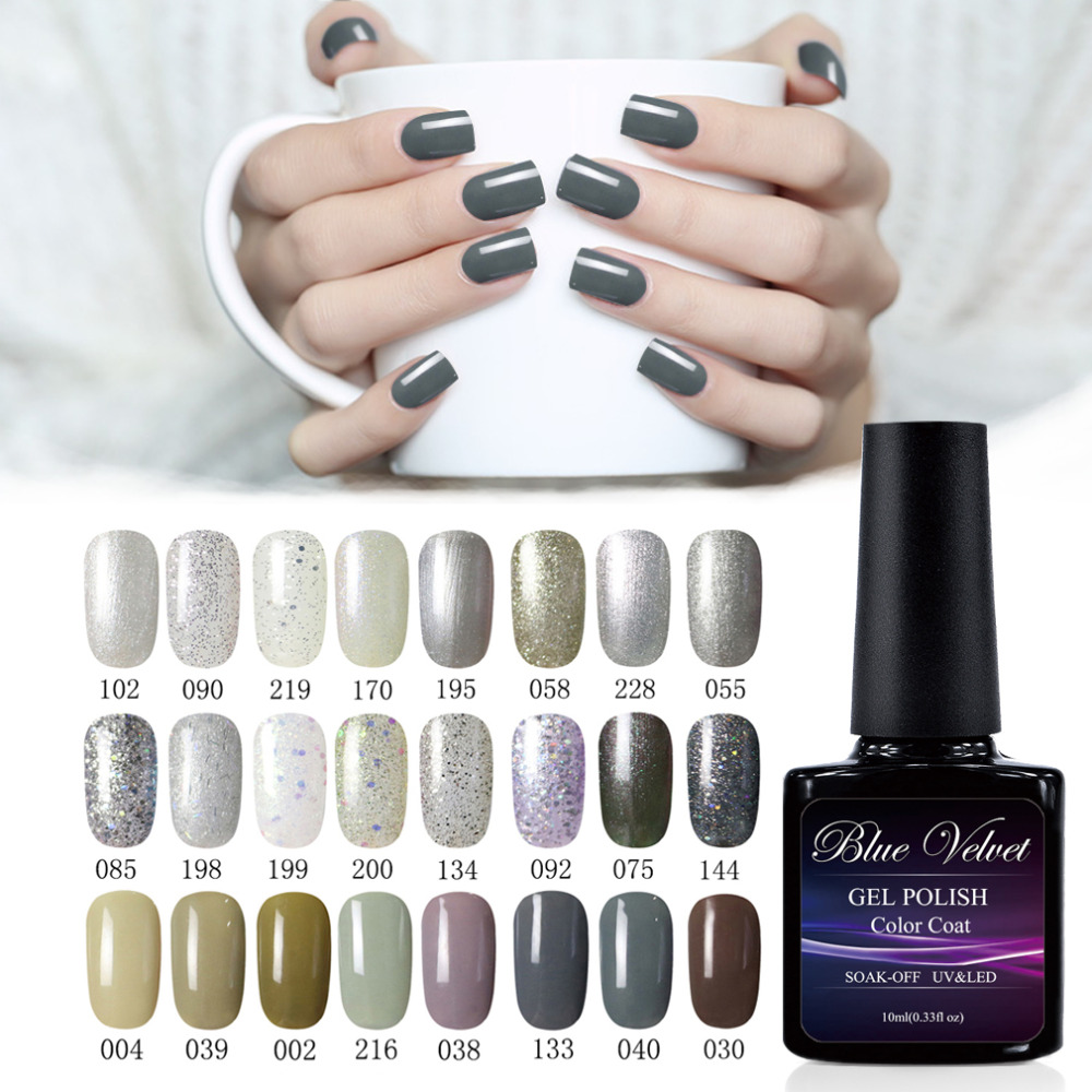 blue velvet 10ml blue/ grey series soak off gel nail polish choose