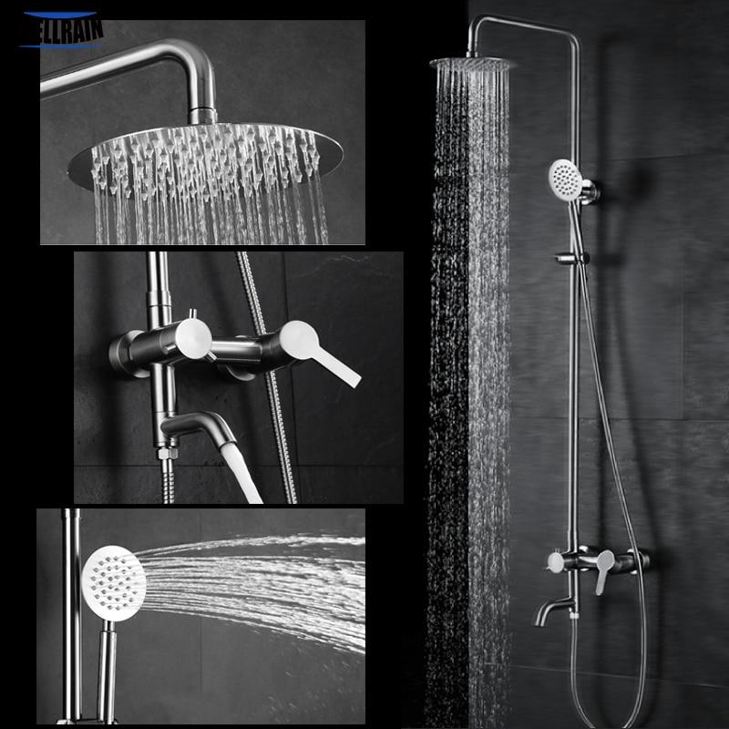 Wall mounted bathroom bath shower faucet set 8 inch rain shower head 304 stainless steel healthy