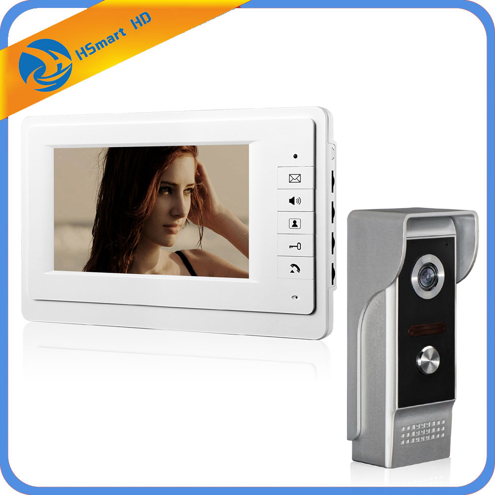 "HSmart HD 7"" inch Color LCD Screen Video Doorphone Doorbell Sperakerphone Video Intercom system Release Unlock for Private House-in Video Intercom from Security & Protection"