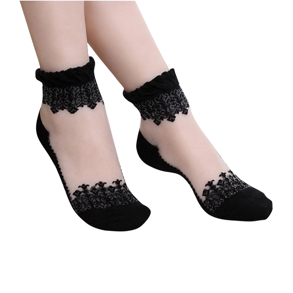 Spring Summer 2019 Woman Lace Flower Short Boat Sock Antiskid Low Invisible Ankle Transparent Hollow Out Socks Slippers W5.9