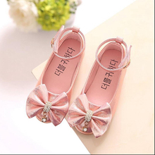 New Flowers Children Girls Kids Baby Wedding Party Princess Leather Shoes  For Girls Mary Single Silver 89646ab646f5
