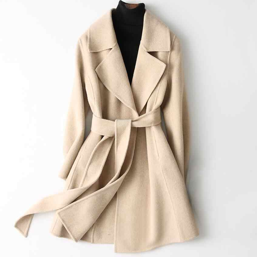 Double-side Wool Coat women Autumn Winter Coat Women 2019 Long Cashmere Women's Coats Jacket Belt