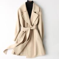 Double side Wool Coat women Autumn Winter Coat Women 2019 Long Cashmere Women's Coats Jacket Belt