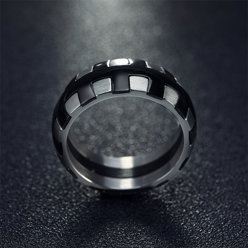 Punk Tire Tread Style Grooved Ring Men Jewelry Rock Punk Vintage 316L Stainless Steel Party Jewelry