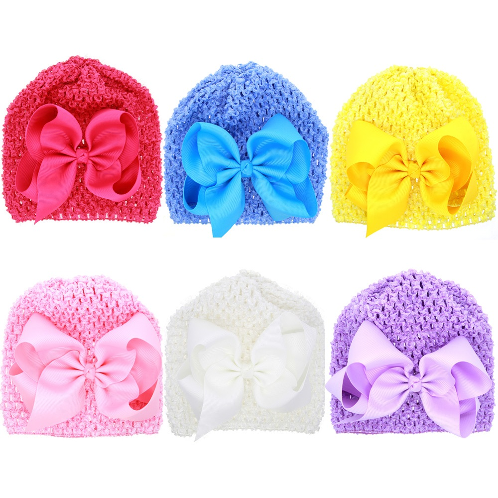 Moeble Baby Girl Crochet Hat Toddler Beanie with Bow Photography Prop Baby Shower Gift Knit Cap Ribbon Bow Hat 1pc H827 1pcs baby spring bow hat newborn beanie with bow for baby girls cotton knit beanie infant striped caps toddler hat accessories