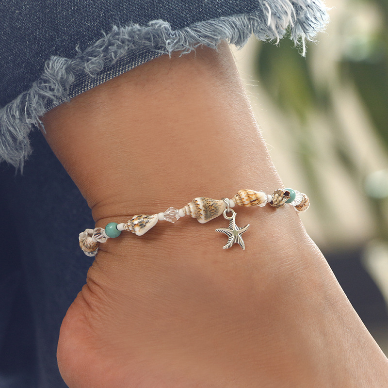 Tgirls Boho Layered Heart Anklets Alphabet Ankle Bracelet Anchor Beach Foot Jewelry for Women and Girls 5Pcs