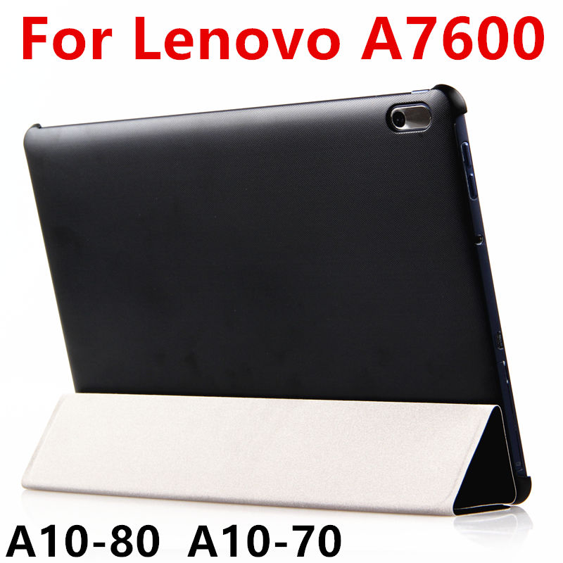 Case PU For Lenovo TAB A10-70 Smart Cover Protector Leather Tablet For Ideatab A10-80 A7600 10.1 Inch Protective PU Sleeve Case