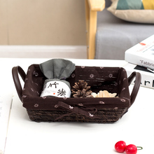 Table storage boxes small imitate rattan woven baskets key basket snack candy dish straw for in hallway