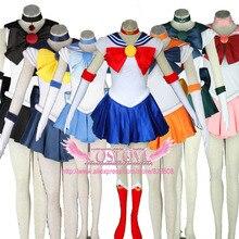 Высокое качество наличии индивидуальный заказ Синий Сейлор Мун Меркурий 1th Косплэй костюм из Сейлор Мун Аниме для Новогодние товары 10 цветов