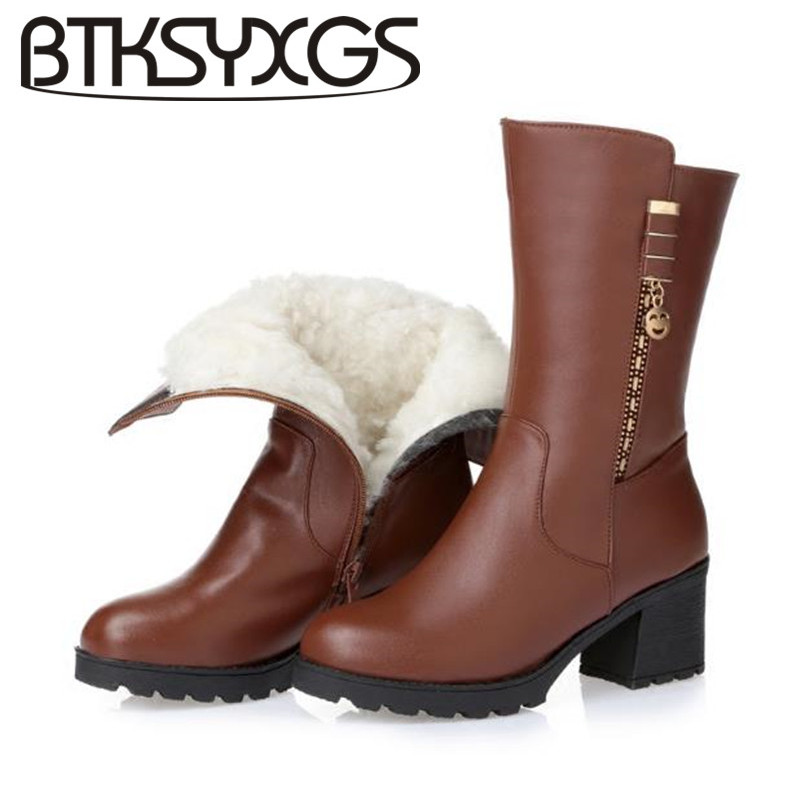 BTKSYXGS 2017 Women's wool snow boots 100% genuine leather Fashion Comfortable Non-slip Winter Knee-High boots Women shoes/35-43 ppnu woman winter nubuck genuine leather over the knee snow boots women fashion womens suede thigh high boots ladies shoes flats
