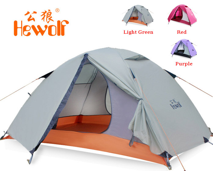 Hewolf outdoor double layer double pole tent camping tent 1595 about 2.51KG high quality outdoor 2 person camping tent double layer aluminum rod ultralight tent with snow skirt oneroad windsnow 2 plus