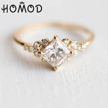 Hot Sale Geometric Square CZ Rings For Women Wedding Gold Color Rhinestone Female Finger Ladys Charm Jewelry Anillos
