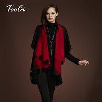 Fashion Winter Autumn Rabbit Fur Coat Women Floral Sweater Cardigan Knitted Plus Size Wool Poncho Cardigan