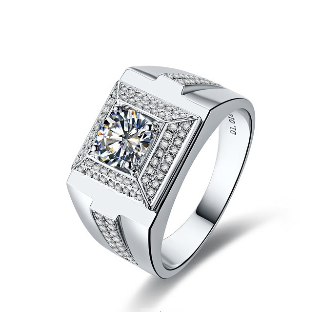 1Ct Exclusive Silver Male Ring for Men Luxury Micro pave Wedding Men