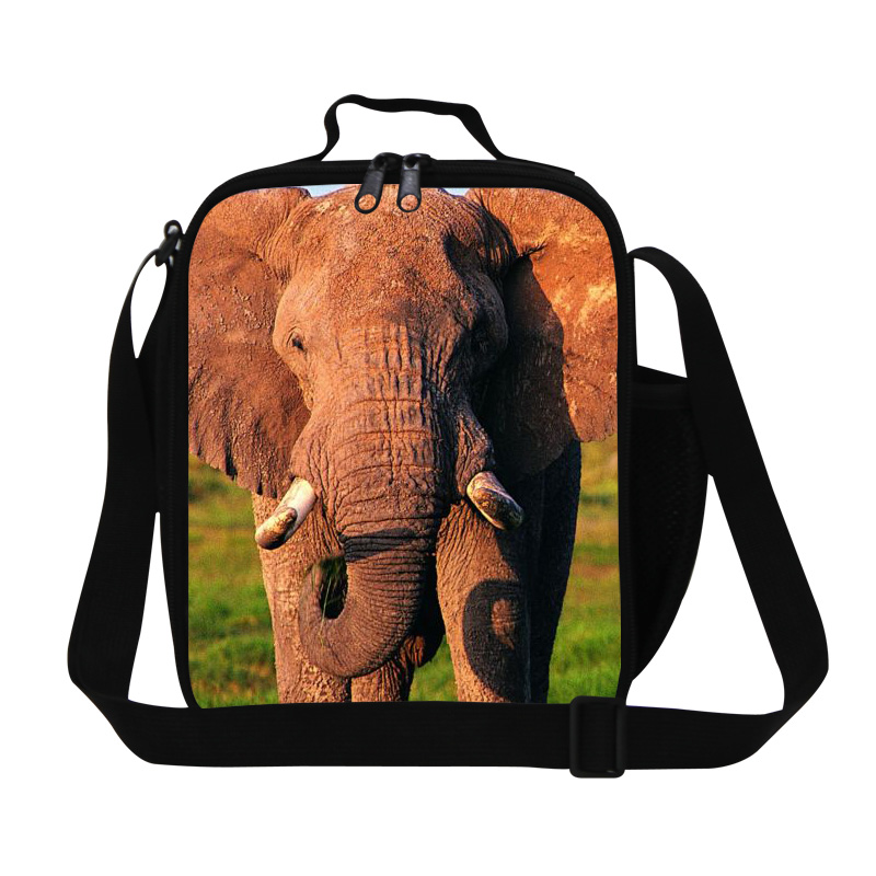 Dispalang Childrens Animal Lunch Bags Elephant 3D Print Sling Bag Mens Small Lunch Box Thermal Waterproof Kids Shoulder Food Bag