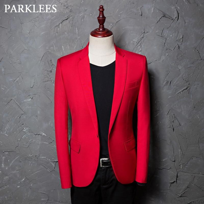 Casual Red Dress Blzaer Jacket Men One Button Lapel Singer Costumes Suit Blazer Regular Fit Stage Performing Wear Jaquetas Homen