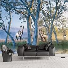 Фотообои на заказ 3d Роспись леса дерева лось картина маслом